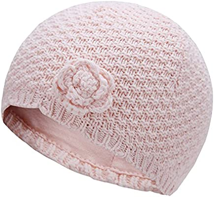 Vivobiniya Baby Girl Winter Knit Cap Little Girl Lovely Flower Hats 1-6T