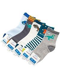 Boys Short Socks Fashion Cartoon Dinosaurs Cotton Basic Crew Kids Socks 5 Pair Pack