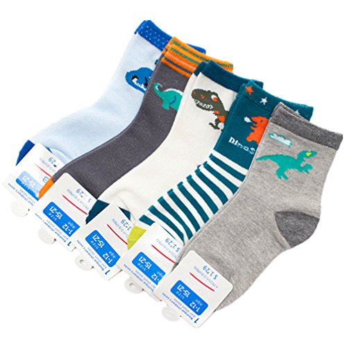 hion Cartoon Dinosaurs Cotton Basic Crew Kids Socks 5 Pair Pack (Short Crew Kids Socks)