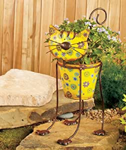 Amazon.com: Cute Cat Whimsical Colorful Metal Garden