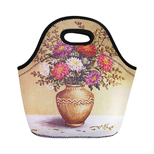 - Semtomn Lunch Bags Green Painting Still Life Bouquet Asters in Clay Amphora Neoprene Lunch Bag Lunchbox Tote Bag Portable Picnic Bag Cooler Bag