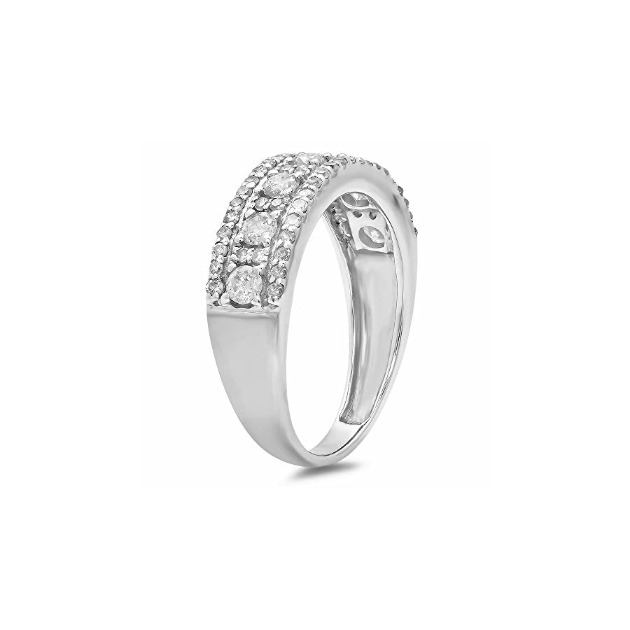 14K White Gold Round Gemstone & White Diamond Ladies Anniversary Wedding Band