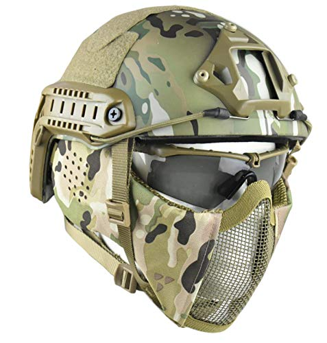 Jffcestore MH Updated Version Fast Tactical Helmet Combined with Foldable Half Face Mesh Mask and Goggles for Paintball CS Game Set(Multicam) (Best Helmet Cam For Paintball)