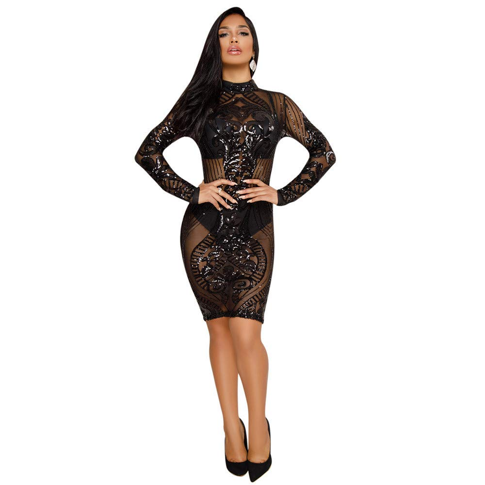 Black Elegant Women's Dress Womens Sparkly Sequin Dress Floral High Neck Long Sleeve Sheer Mesh Bodycon Stretchy Party Midi Dress Cocktail Evening Clubwear Dress Women's Dress Bodikon Dress