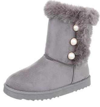 5f7cda3de123 Damen Fellstiefel Winter Stiefeletten Stiefel Schuhe Boots Damenstiefel  Winterstiefel, Farbe Grau, Gr. 39