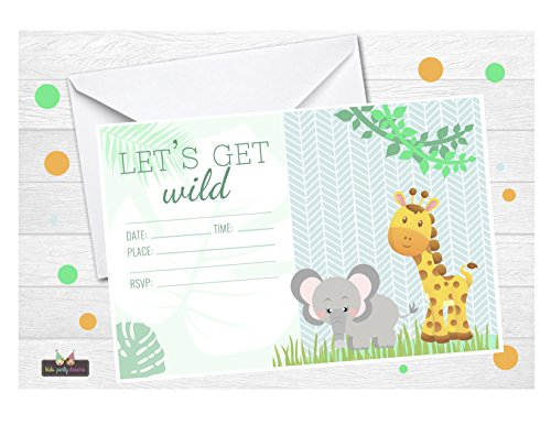 (Safari Jungle Zoo Animals Party Invitations for Kids Birthday, Lets Get Wild Neutral Baby Shower)