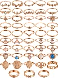 Vintage 48 Pieces Knuckle Ring Set Opal and Turquoise Joint Knuckle Rings for Women Girls Bohemian Five Finger Stackable Rings Set Retro Vintage Jewelry (Style C)