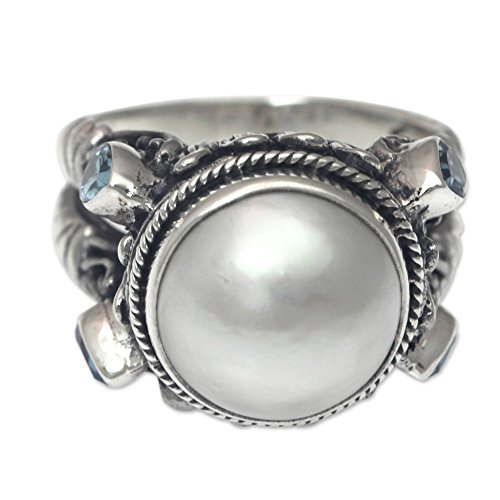 - NOVICA Blue Topaz Cultured Mabe Pearl .925 Sterling Silver Ring, Joyful Moon'
