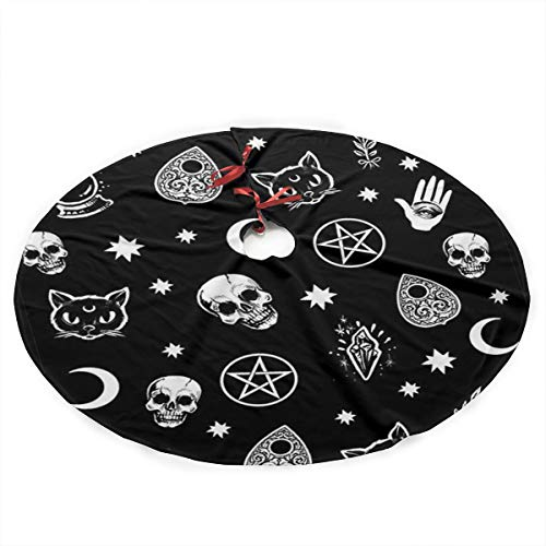 Colorful Skull Cat Moon Gothic Pattern Christmas Tree Skirt - Christmas Tree Skirts 36 Inches,Christmas Tree Decorations, Mini Christmas Tree Skirt, Holiday Tree Ornaments Decoration For Merry