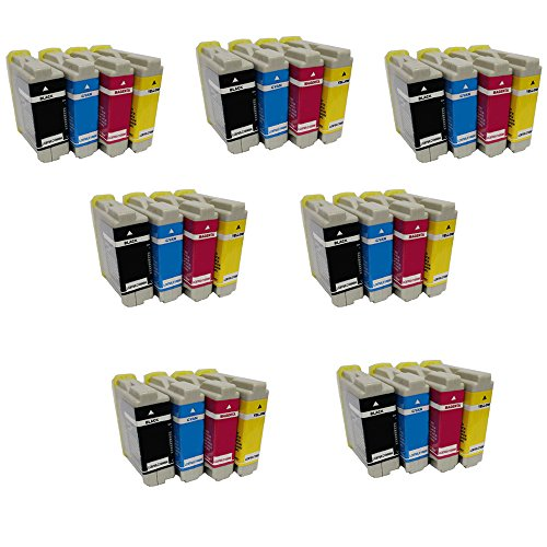 HOTCOLOR(TM) 28 Value New Pack Compatible Ink Cartridge LC10 / LC37 / LC51 / LC57 / LC960 / LC970 / LC1000 for Brother Printer (7BK/7C/7Y/7M) (Printer Inkjet 560c)