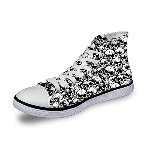 Para U Diseños Punk Skull Hombres Canvas Zapatos Zapatillas De Deporte Con Cordones Para Caminar Al Tobillo Tallas Grandes Skull-1