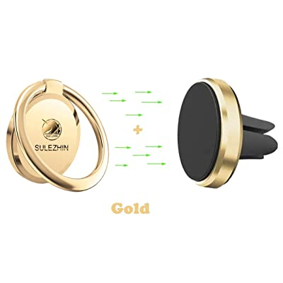 Phone Ring Holder Finger Kickstand 360° Rotation Metal Ring Grip with Magnetic Phone Car Mount Holder Car Air Vent Magnetic Mount Car Phone Holder for iPhone 11 Pro Xs Max XR X 8 All Smartphone(Gold)