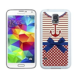 Custom Samsung Galaxy S5 Case Protective <Neo Hybrid> <Satin Silver> Slim Fit Dual Protection Cover for Galaxy S5 and Galaxy S5 Prime(2015)-Satin Silver,,Anchor Chevron Samsung Galaxy S5 Case White Cover
