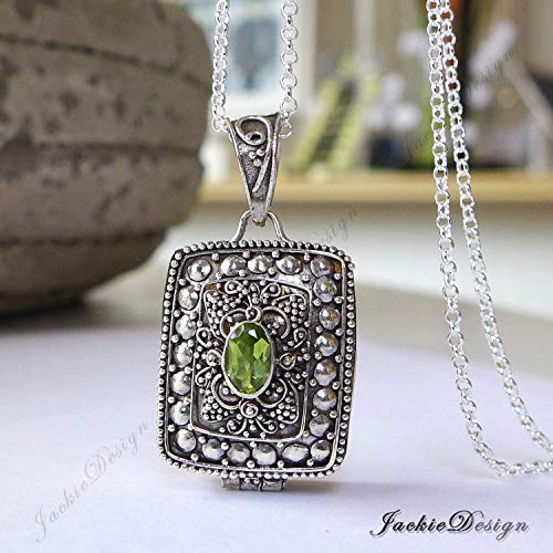 (Rectangle Green Peridot Container Locket Sterling Silver Pendant 20