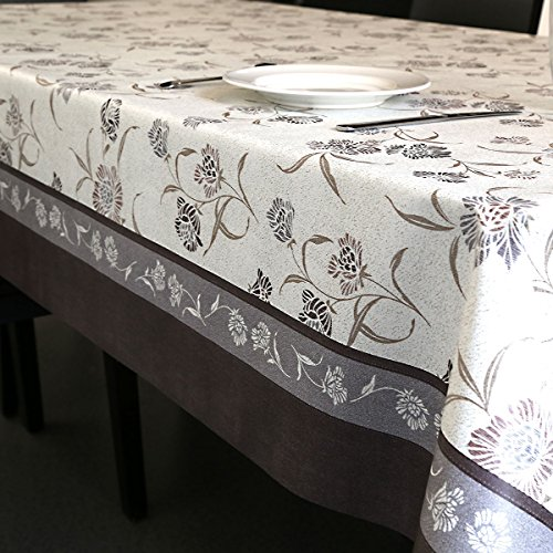 Cover Felt (LEEVAN Heavy Duty Waterproof Spillproof Wipe Clean Home Decoration Table Cover Tablecloth (54'' x 108''-140x275 cm, Vintage Floral))