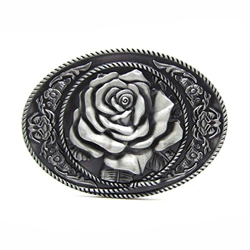 Rodeo White Rose Floral Flower Design Belt Buckle Western Cowgirl Filigree ()