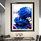 Cross stitch, blue rose, flower, P0015