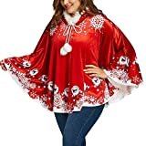 Besde Mom&Me Christmas Women's Winter Warm Santa Claus Hooded Cape Coat Printing Cloak
