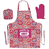 60th Birthday Gifts for Women Made 1957 Funny Birthday Aprons 3-piece Cooking Apron Set with Oven Mitt and Pot Holder Pink Circle