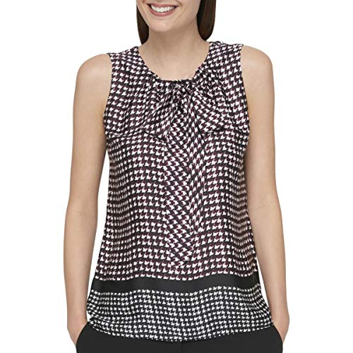 s Bow-Front Houndstooth Blouse Purple L ()
