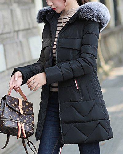 Invierno Caliente Jacket Mujer Gruesa Mantener DianShao con Capucha Chaqueta Negro Abrigo Zx1OTB