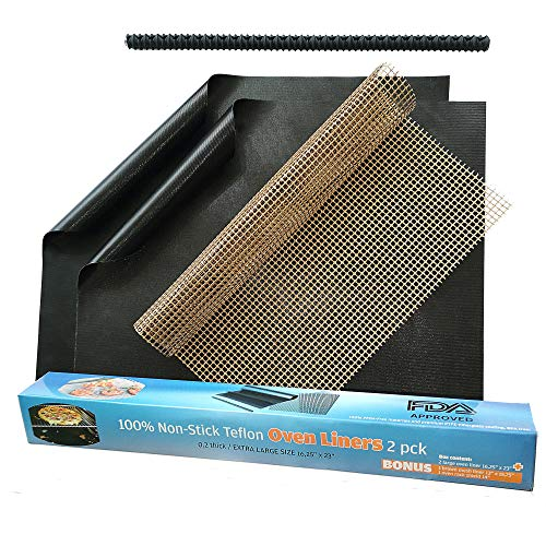 Large Non-Stick Oven Liners - Heavy Duty 2 Pack Liner for the Bottom of Electric, Gas, Toaster, and Microwave Ovens - Certified BPA and PFOA Free Mat