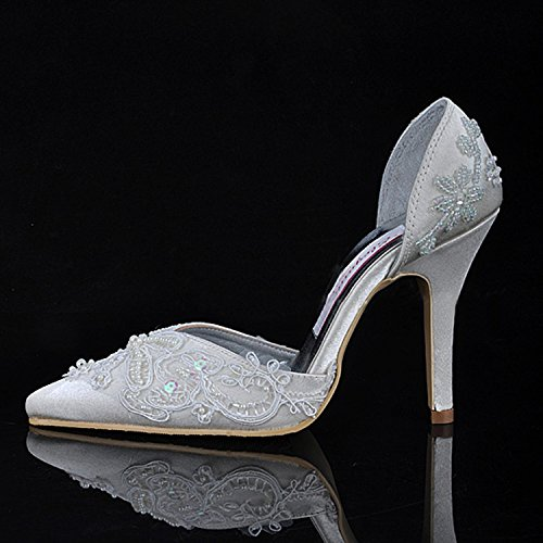 Women's Beaded Shoes Prom Wedding Evening Party MZ581 High Satin Style1 Ivory Minitoo Heel Bridal USqCwT5P