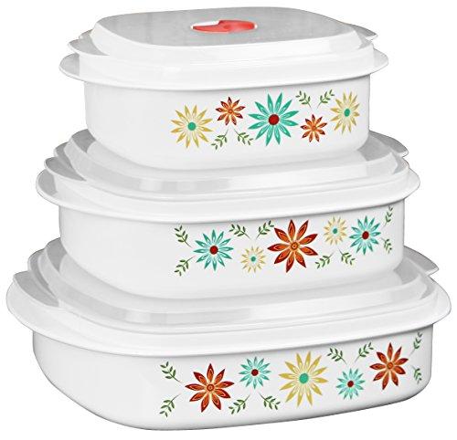 Corelle Coordinates by Reston Lloyd 6-Piece Microwave Cookware, Steamer and Storage Set, Happy Days