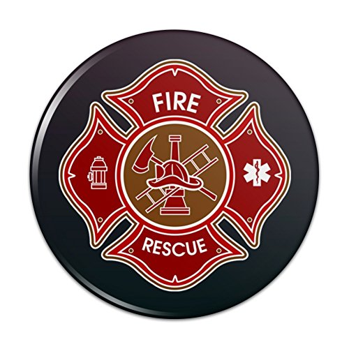 Firefighter Fire Rescue Maltese Cross Pinback Button Pin Badge - 2.25