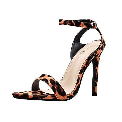 Solike Escarpins Femme Sexy Talons Aiguilles 11 CM - Ouvert Bout - Stiletto Escarpin  Pointu Imprimé. Solike Chaussures Femme 4e41f97b78c5