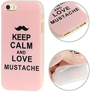 JUJEO Keep Calm and Love Mustache Pattern TPU Case for iPhone 5/5S - Non-Retail Packaging - Multi Color
