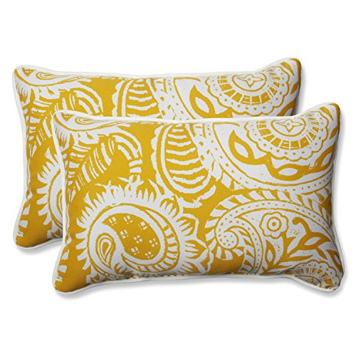 Pillow Perfect Outdoor Indoor Addie Egg Yolk Rectangular Throw Pillow Set of 2 , 2 Piece