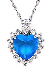 "RIZILIA Ocean Heart Pendant with 18"" Chain & Heart Cut CZ [6 Colors Available] in White Gold Plated, Simple Modern Elegant"