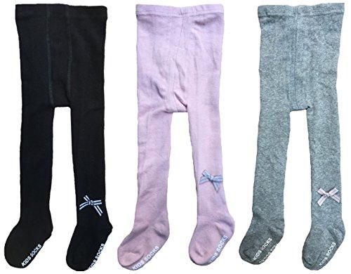 QandSweet Baby Girls' Nonslip Leggings Pants Toddler Anti-Skid Tights Stockings 3-Pack (Black Pink Grey, 1-2T) (Wool Leggings Cotton)
