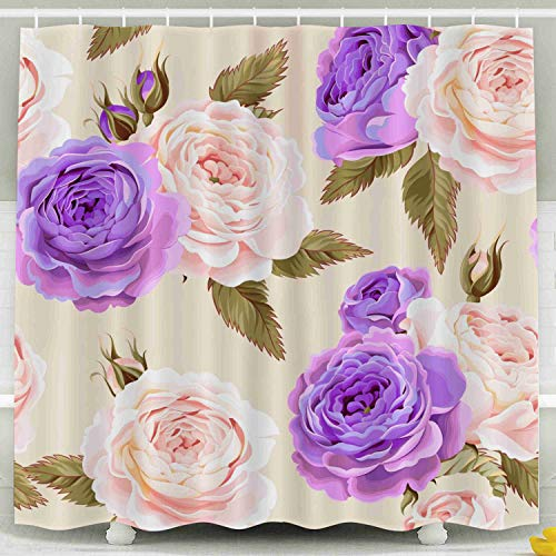 HerysTa Kids Shower Curtain, Waterproof Non-Toxic Room Partition Curtain Thickening Curtain English Roses Bathroom Shower Curtain 78X72 Inch