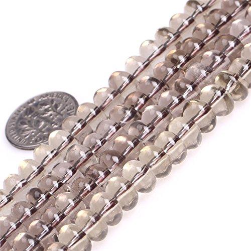 (JOE FOREMAN 5X8mm Light Color Smoky Quartz Semi Precious Gemstone Rondelle Loose Beads for Jewelry Making DIY Handmade Craft Supplies 15