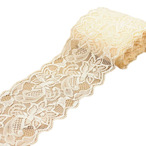 Ymacy 5 Yards Thin Lace Fabric Ribbon Trim Lace Yard for DIY Craft Clothing Accessories and Rustic Wedding Bridal Decoration Light Champagne