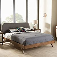 Baxton Studio Penelope Mid-Century Modern Solid Walnut Wood Grey Fabric Upholstered King Size Platform Bed