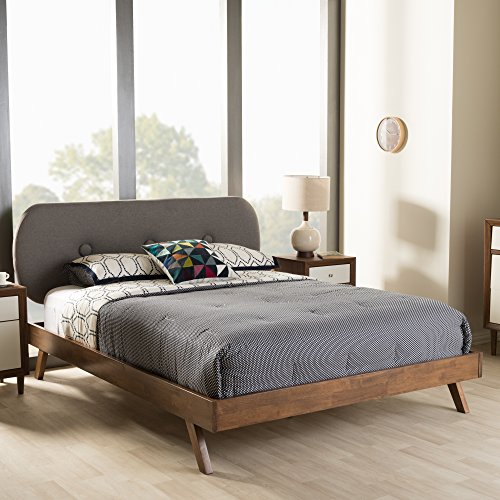 Baxton Studio Penelope Mid-Century Modern Solid Walnut Wood Grey Fabric Upholstered Full Size Platform Bed 51f5alDq63L