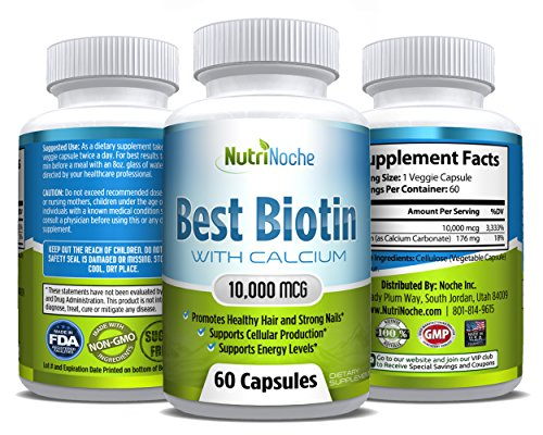 *The BEST Biotin *Biotin for Hair -Skin - Nails Growth *10000 MCG of Biotin for Maximum Strength *Top Rated Biotin Supplement *