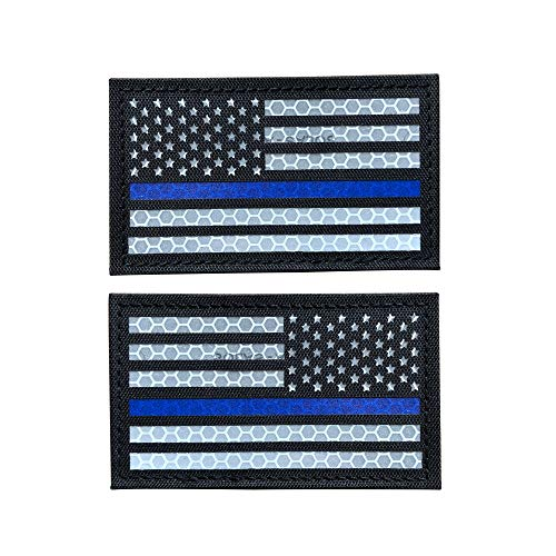 SUVIYA 3.5x2 Inch Solas Reflective Thin Blue Line US USA American Flag Police Patch with Hook and Loop (Forward and Reversed)
