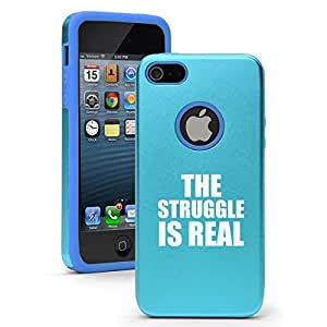 """Apple iPhone 6 (4.7"""") Aluminum Silicone Dual Layer Hard Case Cover The Struggle Is Real (Light Blue)"""