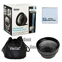 Vivitar Pro series 58mm 2.2x High Definition AF Telephoto Lens for Canon T1i, T2i, T3, T3i, T4i, T5i, SL1, 30D, 40D, 50D, 60D, 70D, 5D, 1D, 5D Mark II, 5D Mark III, XT, XTi DSLR Camera and Other Models + Microfiber Cloth