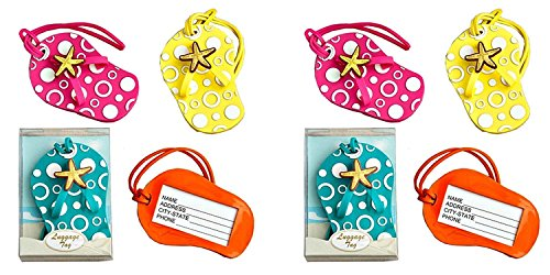 2 Set of 4 Colorful Unique Flip Flop Luggage Tags (Blue, Yellow, Pink and Orange) Bundled by Maven Gifts -