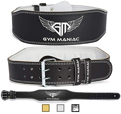 Gym Maniac Weight Lifting Waist Gym Belt | Adjustable Size, 2 Prong Buckle, Comfy Suede, Reinforced Stitching | Support Your Back & Alleviate Pains (Silver, Medium)