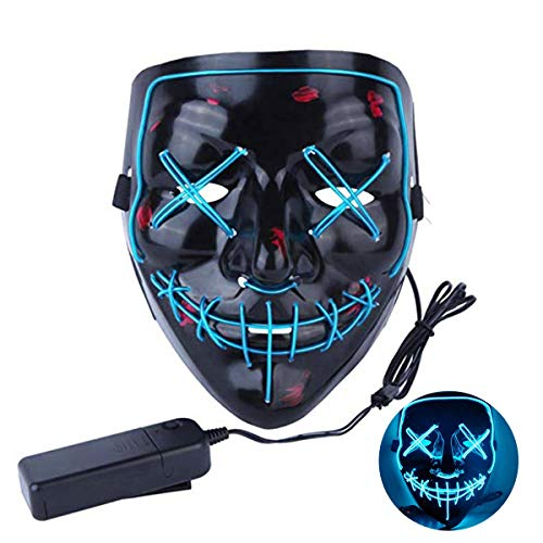 Halloween Mask Cosplay LED Mask Purge Mask Frightening Light Up Mask for Festival Parties Cosplay Costume Mask (ICE Blue)