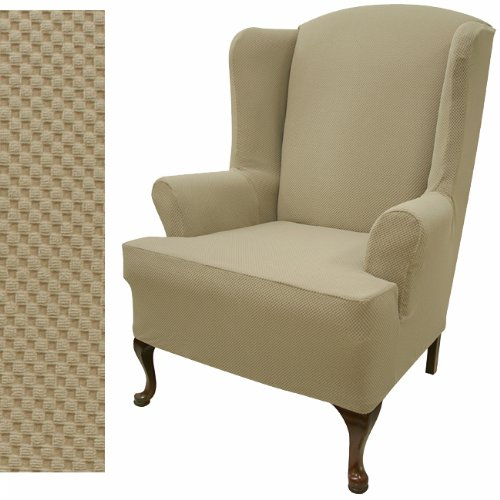 Easy Fit Stretch Pique Oatmeal Biscuit Wing Back Chair Slipcover 707