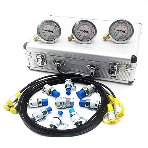 Hydraulic Pressure Test Kit - SINOCMP Hydraulic Test Gauge Kit Pressure Gauge Used for Excavators, 2 Years Warranty ()