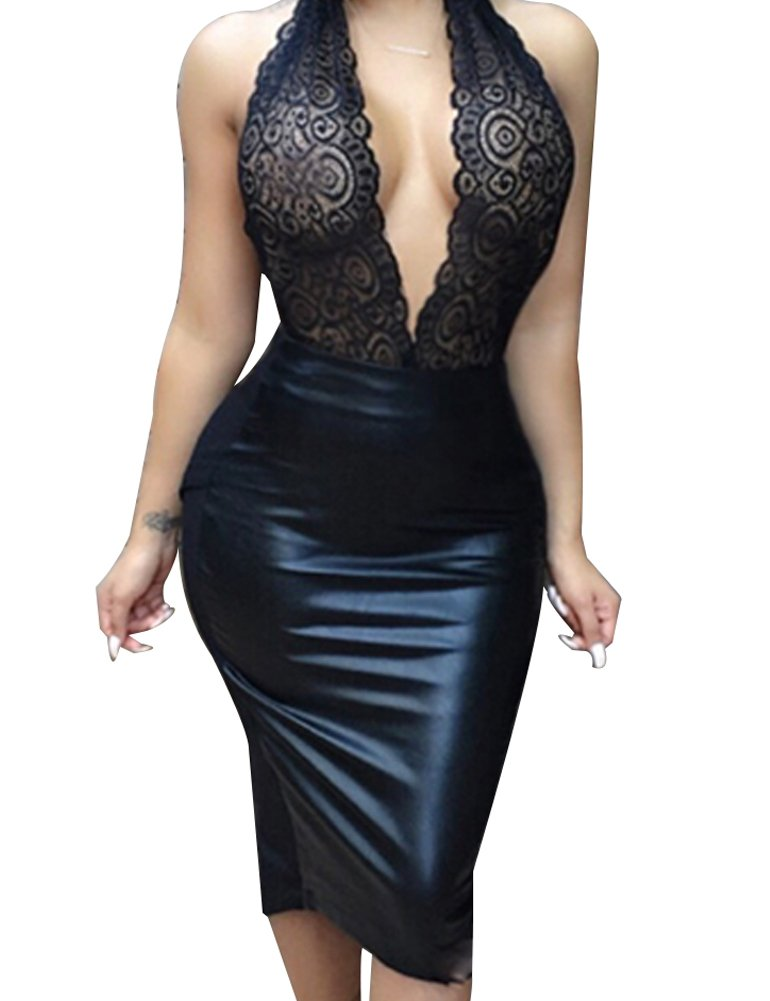 Allegrace Women Sexy Luxury Lace Halter Neck Banquet Cocktail Prom Party Dresses Black M