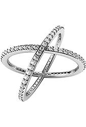 "Sterling Silver 925 Cubic Zirconia CZ Criss Cross ""X"" Long Ring"